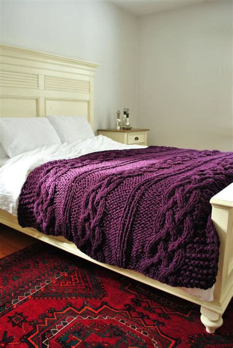 Cable Knit Sweater Comforter by Chunky Cable Knit Throw Blanket In Plumbcabled Wool
