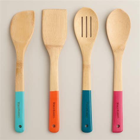 bamboo dipped serving utensils set of 4 world market