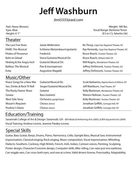 Sample Acting Resumes – Acting Resume Example   Best Template Collection
