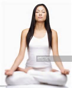 Lotus Position Practicing Sitting In Lotus Position Stock