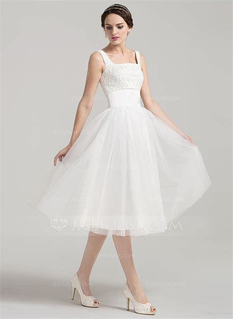 Square Wedding Dress by A Line Princess Square Neckline Knee Length Tulle Lace