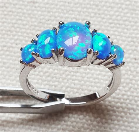 Blue Opal 01 popular blue opal rings jewelry for anniversary in