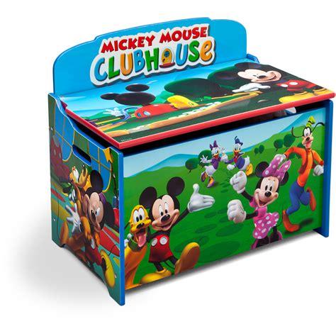 Delta Safety Handmade box storage organizer wood bench lid mickey mouse
