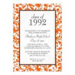 orange black swirl damask class reunion invitation 5 quot x 7 quot invitation card zazzle