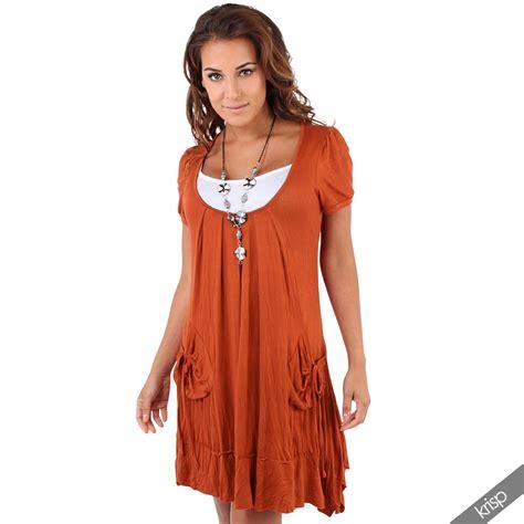 Set 3in1 4 damen 3in1 set tunika kleid mit top und halskette mini