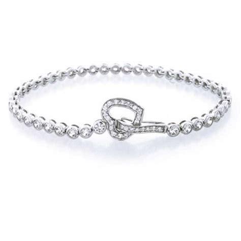 Round CZ Open Heart Link Tennis Bracelet 7.5 Inch 925 Silver