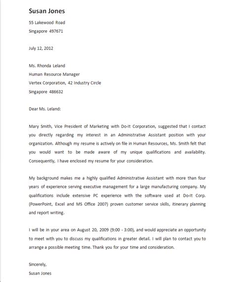 Cover Letter Referral From Friend letter of application letter of application referred by