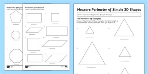 printable shapes to measure perimeter year 3 measuring the perimeter of simple 2d shapes