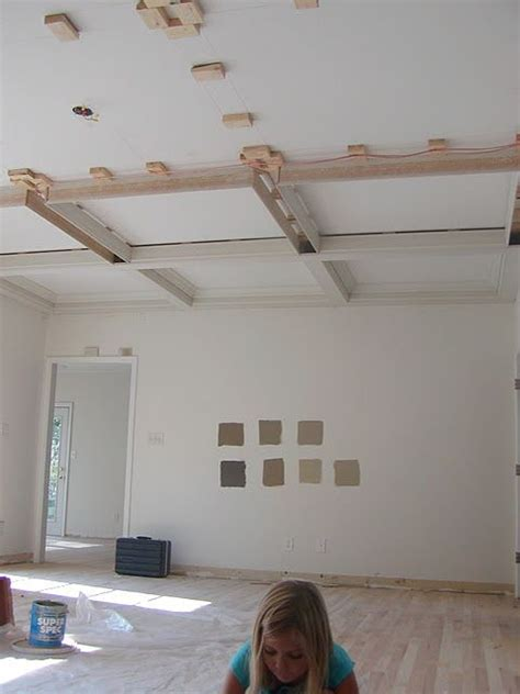 Coffered Ceiling Height How To Put In A Faux Coffered Ceiling Design Living Room