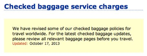 baggage fees united airlines united airlines reduces free checked baggage allowance for