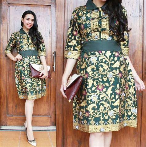 Glossy Dress Wanita dress batik modern terbaru 2017 cantik anggun dan