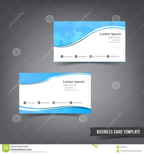 business card set template business card template set clear style blue and curve wave