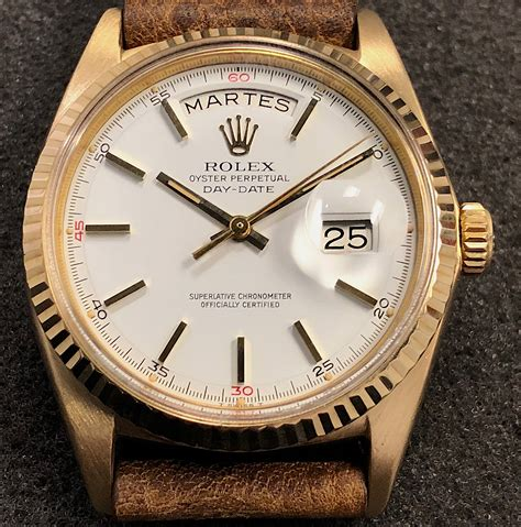 Rolex Leather Date vintage rolex day date president 1803 18k yellow gold