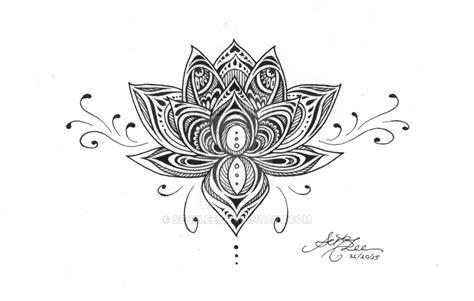 black ink lotus flower on ankle