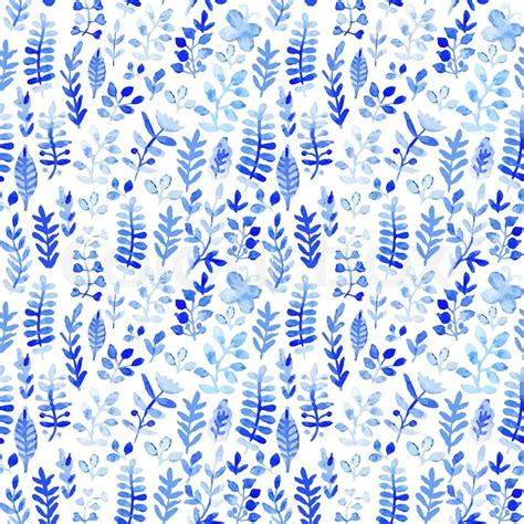 floral pattern watercolor painting blue vector watercolor texture with flowers floral pattern