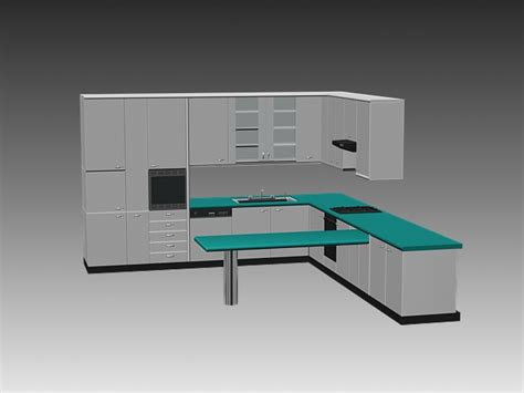 Cabinets Kitchen Design by Modern L Kitchen Cabinets 3d Model 3dsmax 3ds Autocad