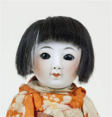 bisque cat doll antique japanese bisque doll in traditional kimono with