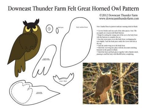 printable pictures of great horned owl my felt great horned owl pattern owls patterns