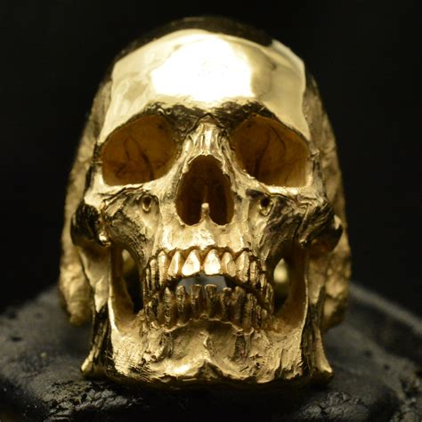 gold skull mid size jaw 18k yellow gold skull ring