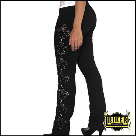 womens motorcycle clothing flower net see through stretch pants biker clothing