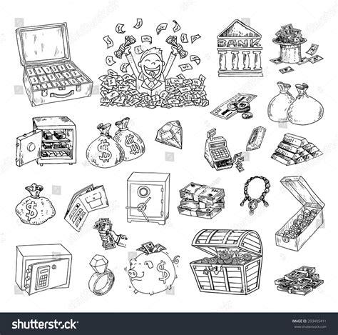 doodle money doodle money icon set stock vector 293495411
