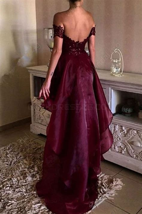 Shoulder Lace Evening Gown high low burgundy the shoulder lace prom dresses