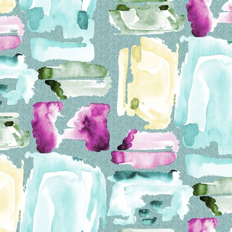 Olive Magenta Flower watercolor abstract magenta teal gold olive abstract on