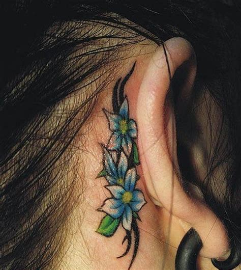 small flower tattoos behind ear 39 stunning ear neck tattoos