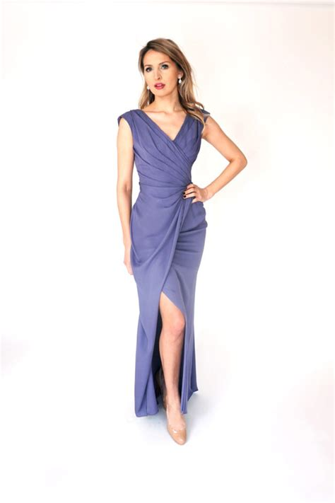 Mira Slit silk georgette gown by mira couture
