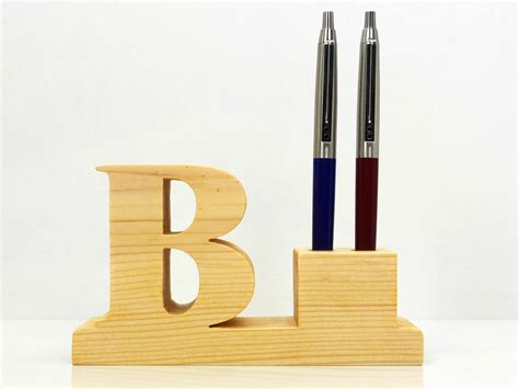 pen holder for desk pen holder personalized wooden desk pen holder with letter
