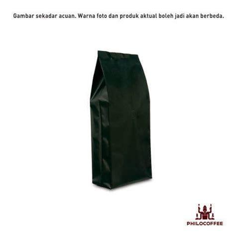 Kemasan Standing Pouch Hitam 13x20 Cm Zipper kemasan kopi gussete hitam 1 kg 25 buah philocoffee