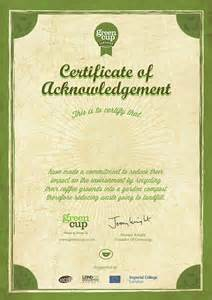 greencup certificate of acknowledgement on behance