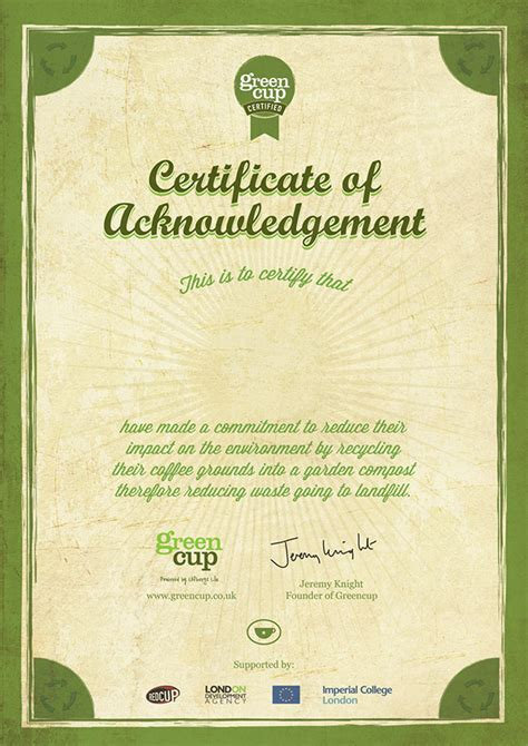 acknowledgement certificate templates greencup certificate of acknowledgement on behance