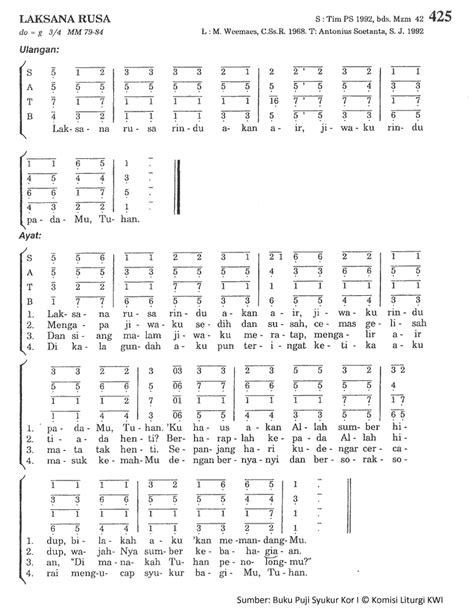 Chord Laksana Rusa - PS. 425 - Madah Rohani - Lyric Chord