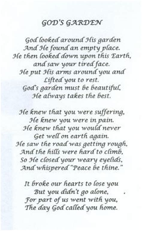 Garden Sayings For Funerals Poem I Read At My Grandmas Funeral Simply Beautiful