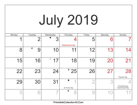 July 2019 Calendar Printable July 2019 Calendar Printable With Holidays Pdf And Jpg