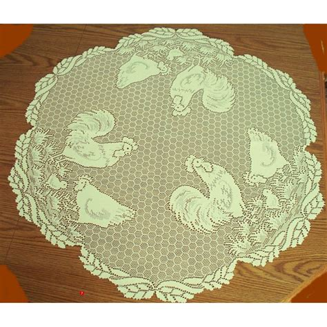 table topper rooster ecru 30 inch heritage lace