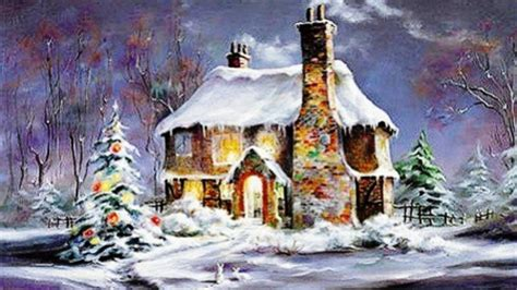 snowy cottage winter nature background wallpapers on