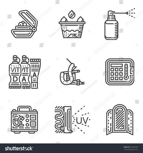 tattoo care procedure set black line vector icons tattoo stock vector 299422907