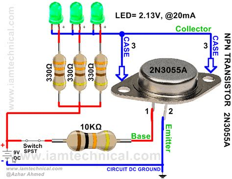 transistor as a high voltage switch complementary silicon high power transistor npn 2n3055a iamtechnical