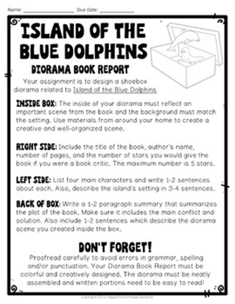 Island of the Blue Dolphins Project: Shoebox Diorama Book