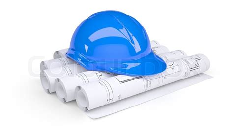 Work From Home Design Engineer Jobs by Blue Construction Helmet On The Rolls Of Architectural