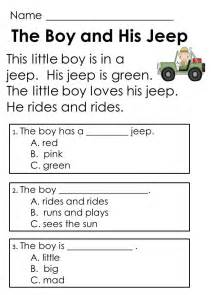 kindergarten guided reading comprehension passages and