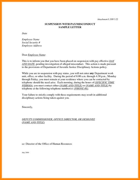 9 Suspension Letter To Employee Phoenix Officeaz Employee Suspension Letter Template