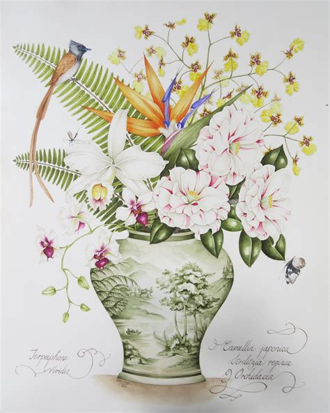botanical painting in gouache 184994265x original painting by kelly higgs green and white pot with mixed flowers strelitzia camellias