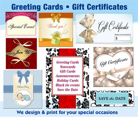 Where Can U Sell Gift Cards - notecards gift certificates universal press inc print copy center