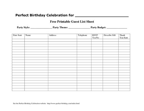free printable card list templates 6 best images of printable guest list template free