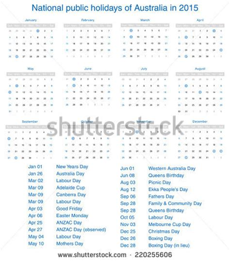 national public holidays of australia in 2015 template