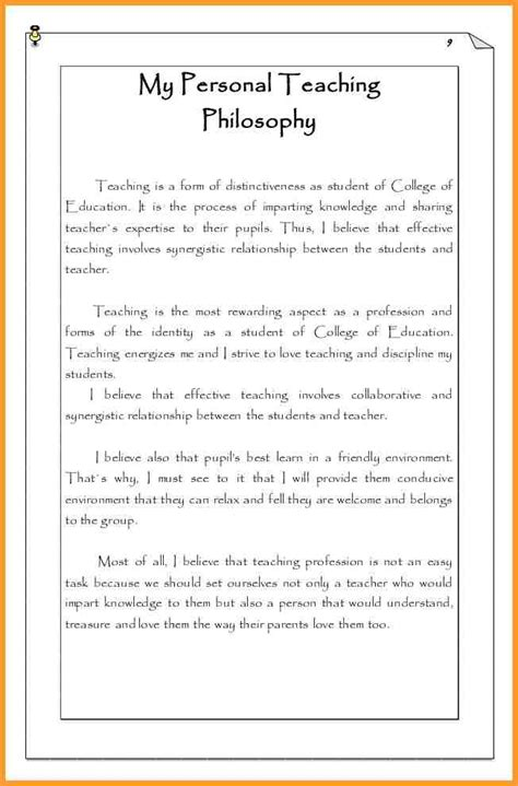 elementary teaching philosophy exles letter format mail