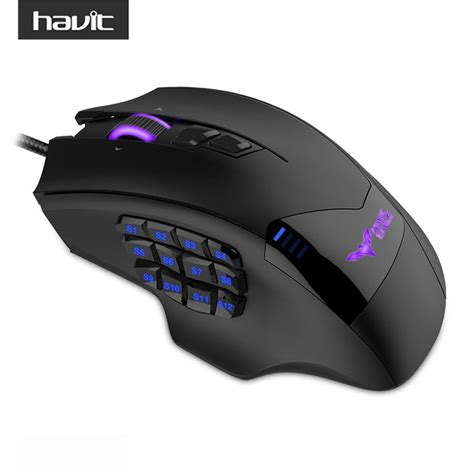 Mouse Gaming havit programmable gaming mouse wired usb 19 buttons 12000dpi led high precision optical gamer